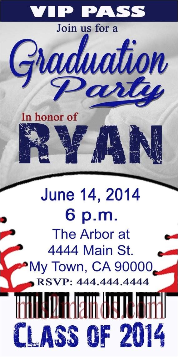 graduation baseball ticket invite diy