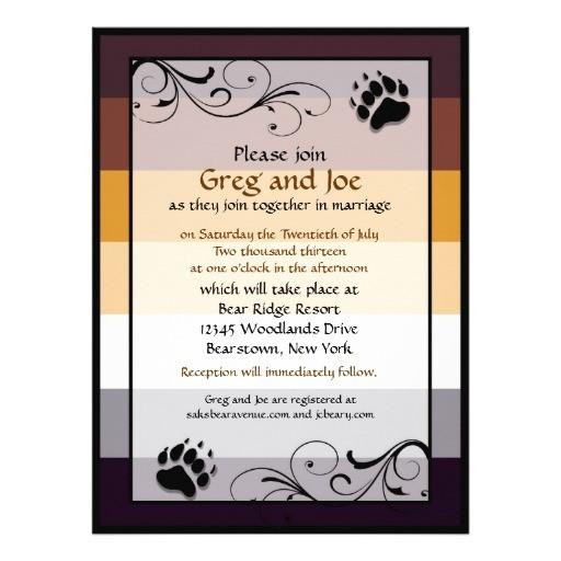 bear pride custom gay wedding invitations 161804354953946877