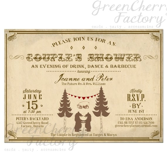 couple shower bbq invitation bear