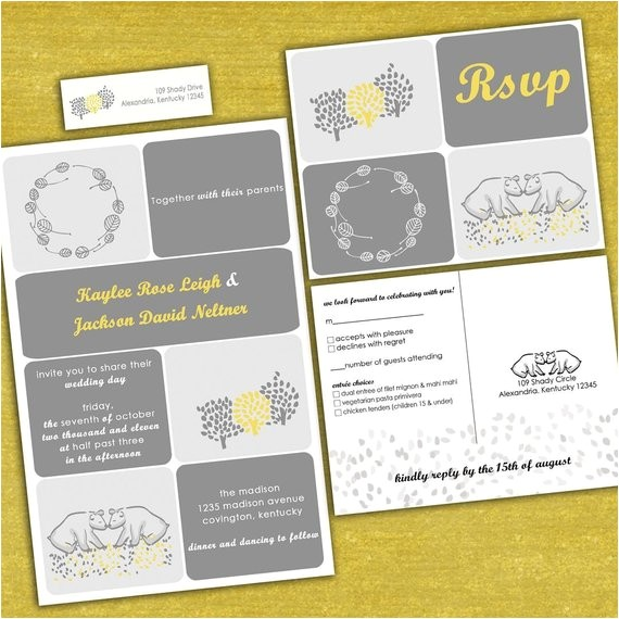 custom kissing bears wedding invitation