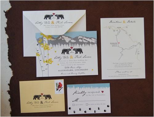 love bears bear tracks wedding invitation suite