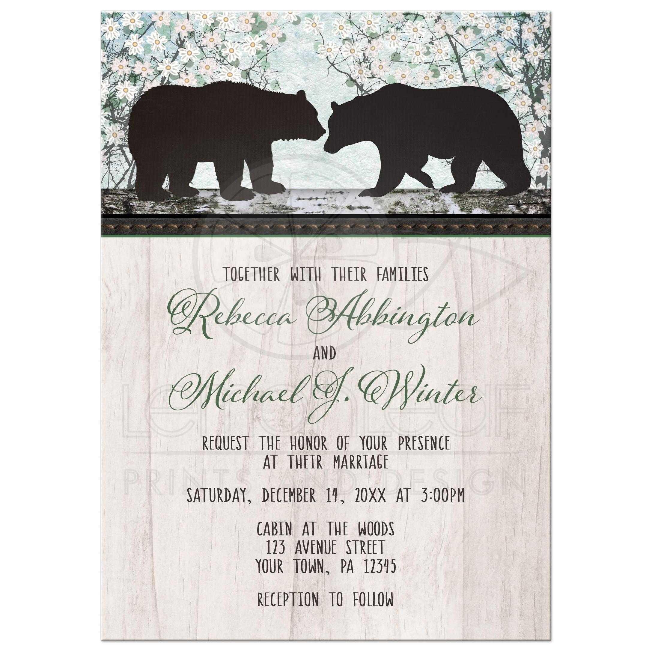 Bear Wedding Invitations Wedding Invitations Rustic Bear Floral Wood