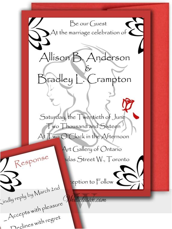 beauty and the beast wedding invitations