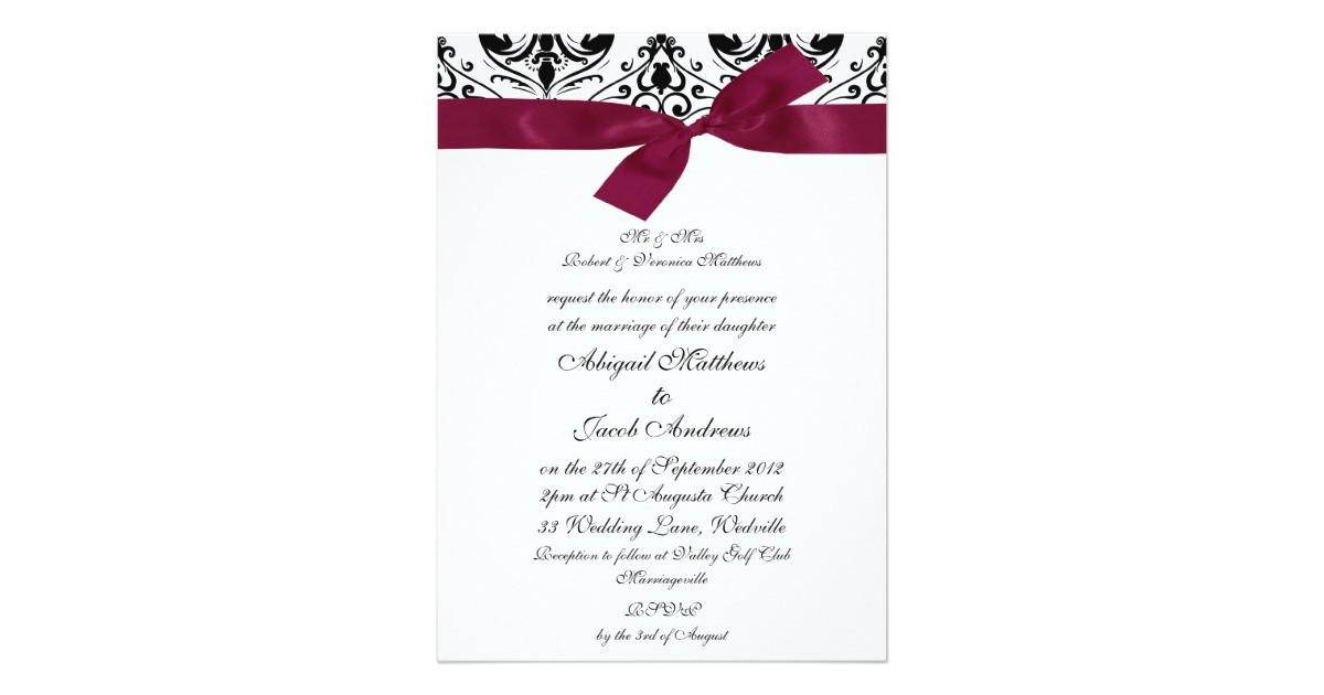 black burgundy ribbon wedding invitation 161429847949724723