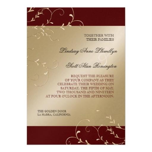 black tie elegance red burgundy wedding cards invitation 161622514634320995