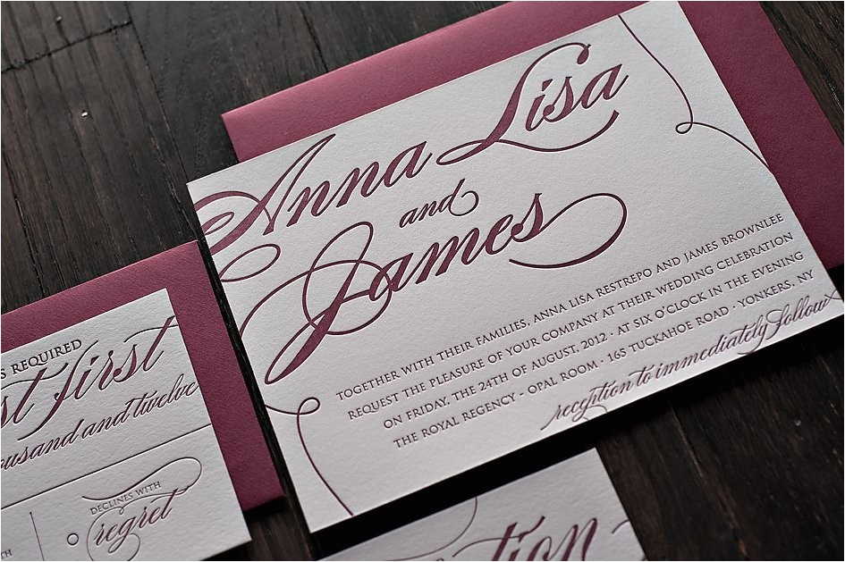 burgundy and silver wedding invitations