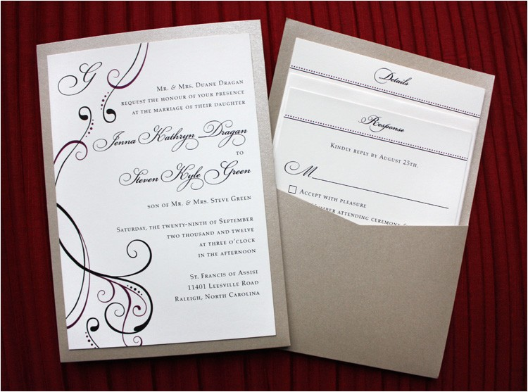 burgundy black champagne metallic clutch pocket wedding invitations