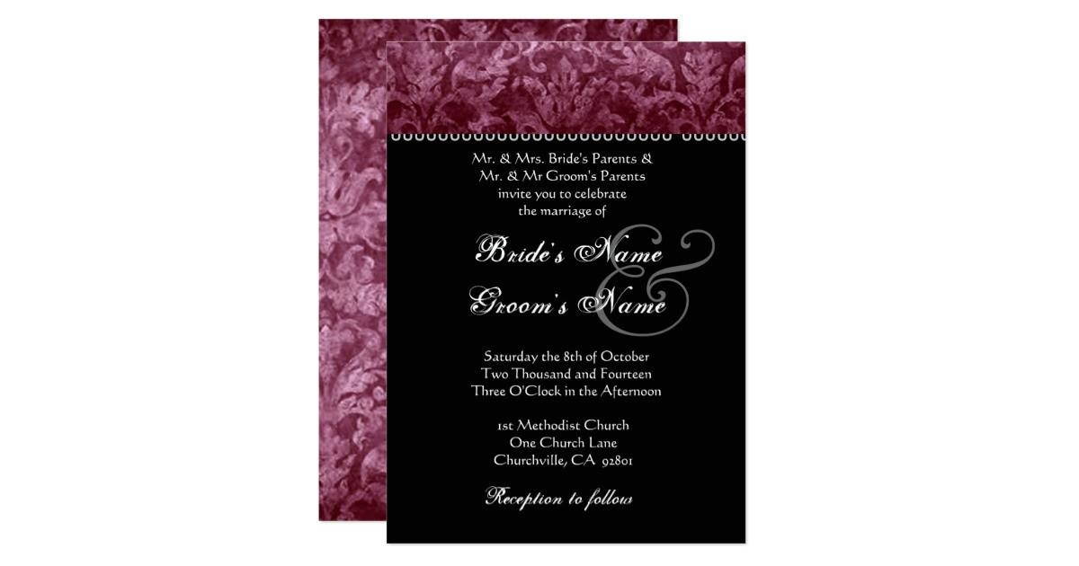 burgundy black white damask wedding invitation 161289173878552484