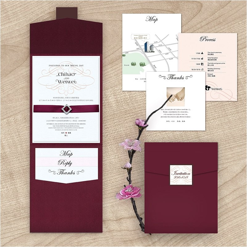 maroon wedding invitations