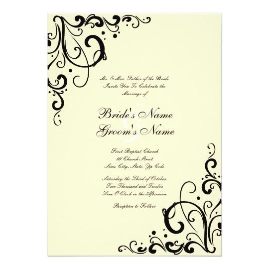 black and cream flourish wedding invitation 161805269893321505