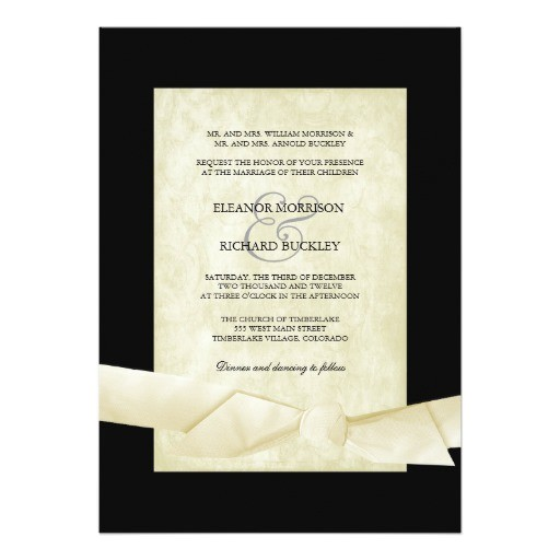 black and cream wedding invites ribbon bow 161164162325956331