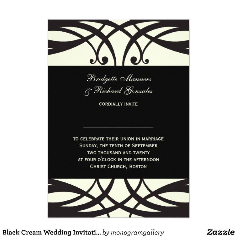 black cream wedding invitations art deco 161200772245150121