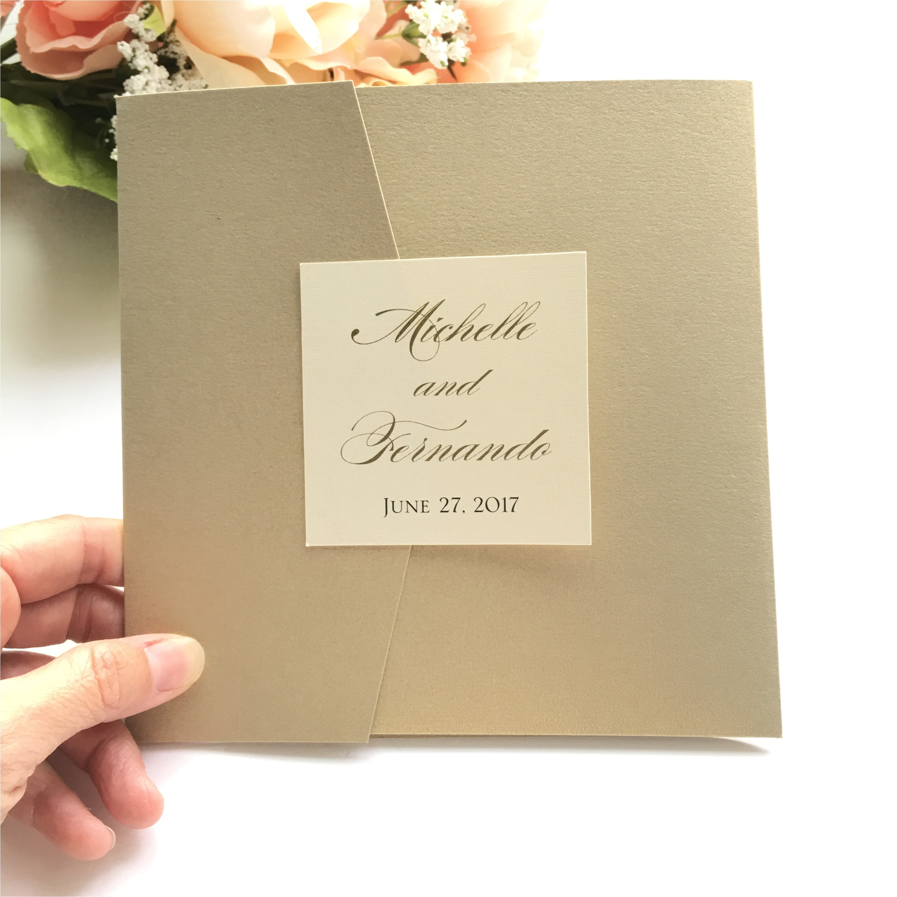 black friday special gold and cream pocketfold wedding invitations set of 10