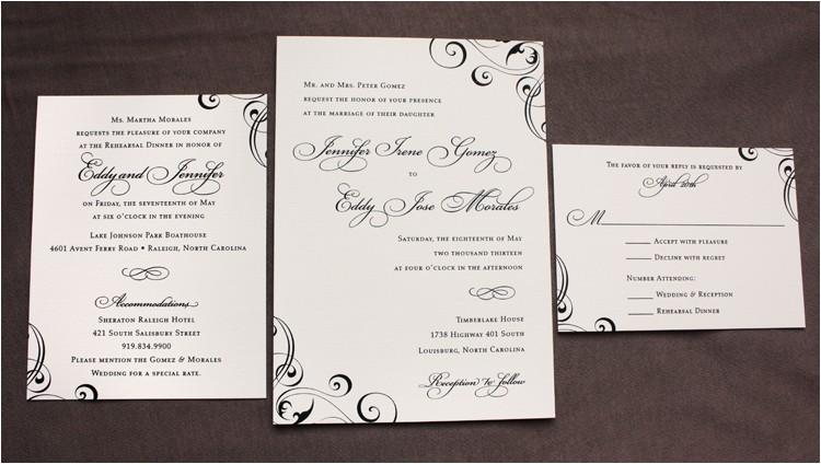 formal black cream elegant swirls scrolls wedding invitations