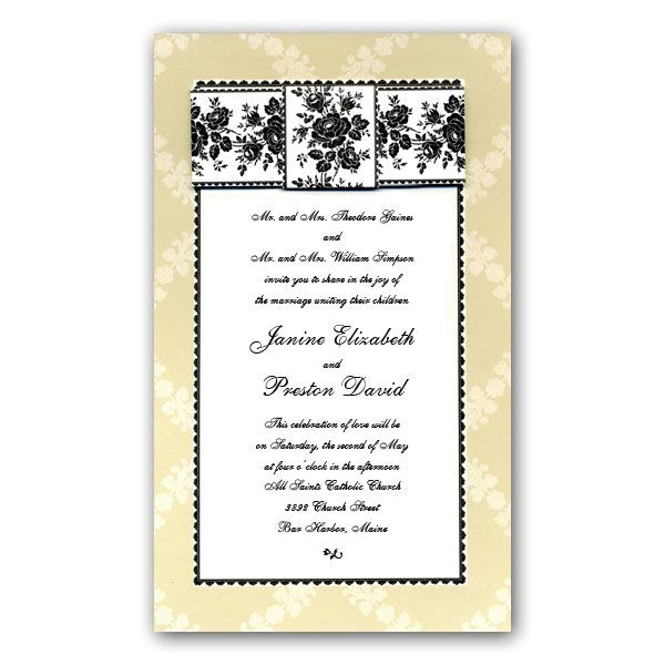 rose pattern bow black cream wedding invitations clearance p 2 fb001