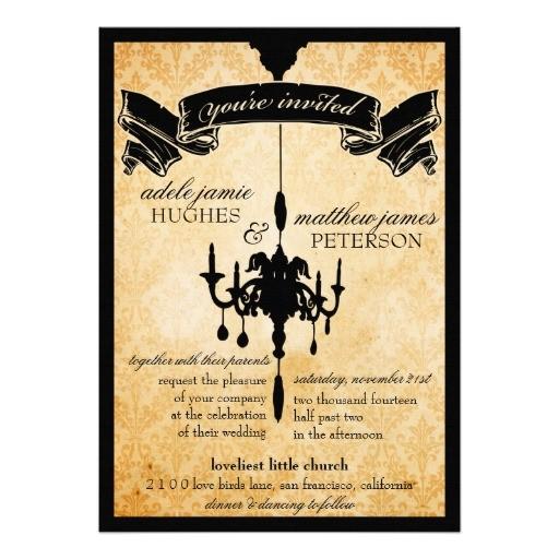victorian chandelier black cream wedding invitation 161182673923553922