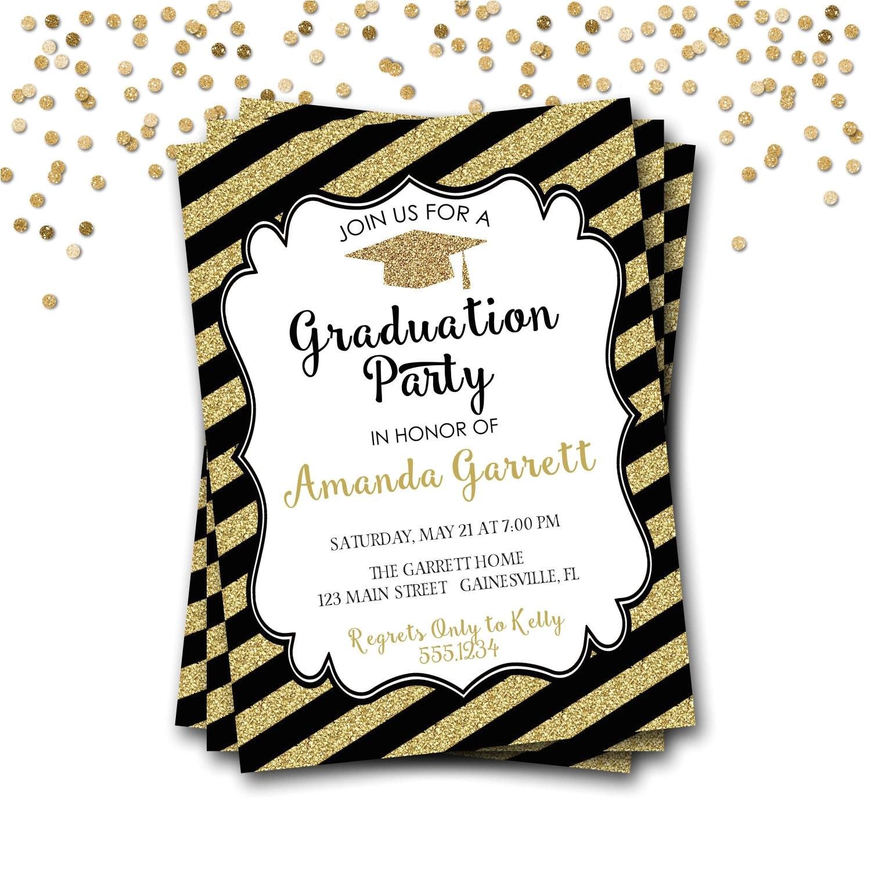 black and gold graduation invitation