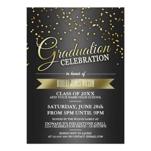 black gold confetti graduation party invitations 161489580030596556