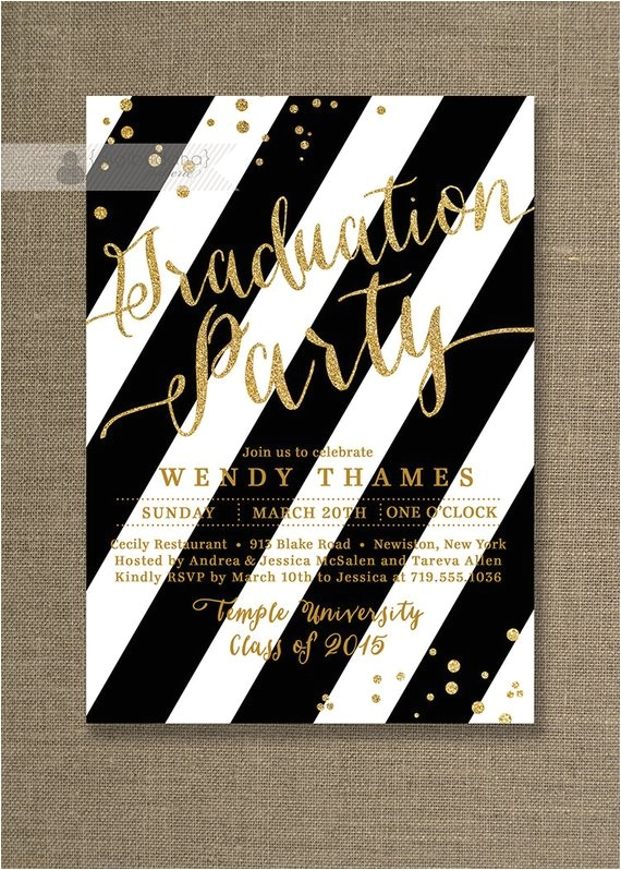 gold black and white graduation party