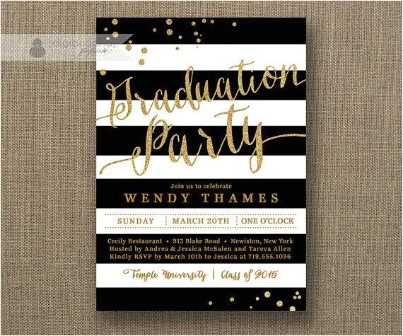 gold black and white graduation party invitation glitter horizontal stripes bachelorette free priority shipping or diy printable wendy