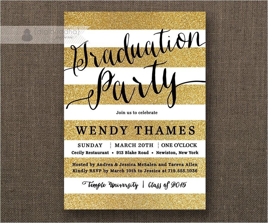 gold black graduation party invitation