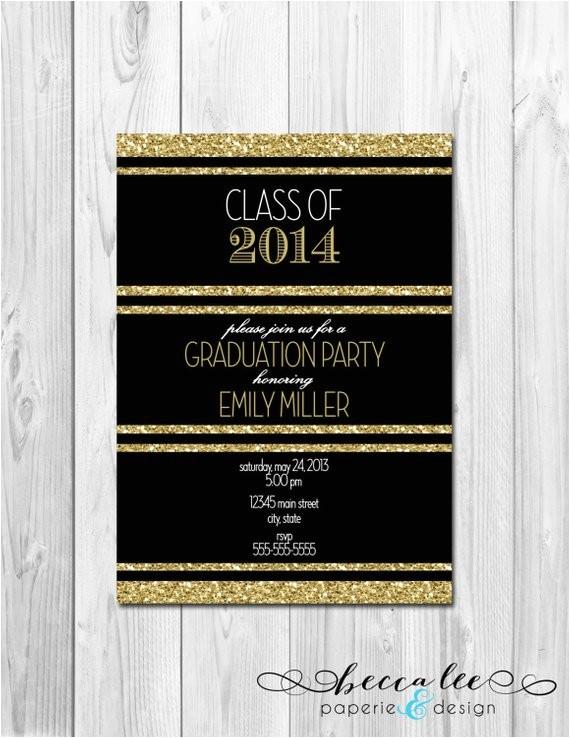 graduation party invitation black white gold