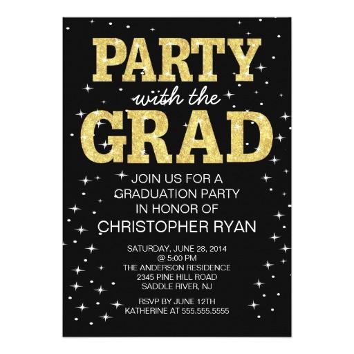 Black and Gold Graduation Party Invitations Personalized Glitter Graduation Invitations
