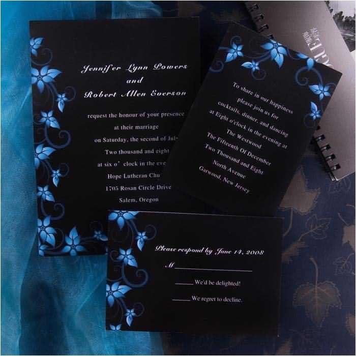 elegant damask black and blue wedding invitations ewi037