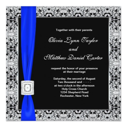 royal blue black lace wedding invitation 161031112950952612