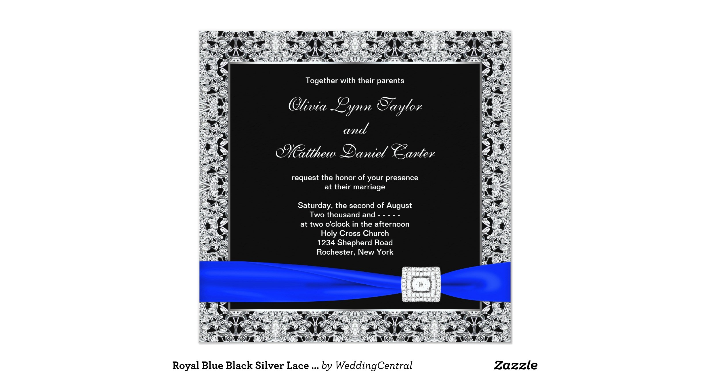 royal blue black silver lace wedding invitation 161621978218997594
