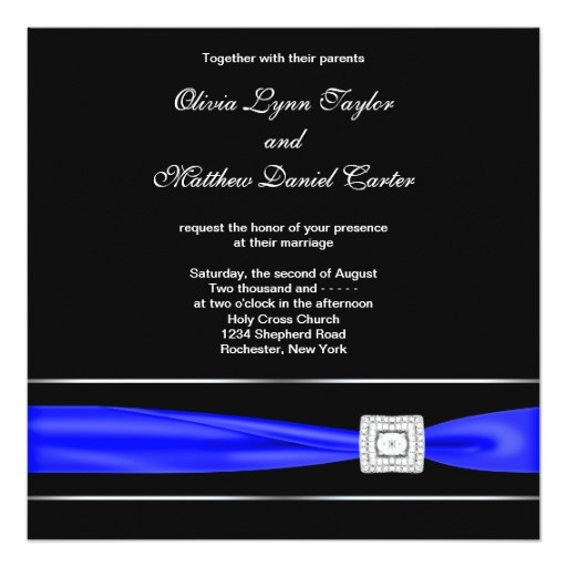 royal blue black wedding invitations 161384499325956355
