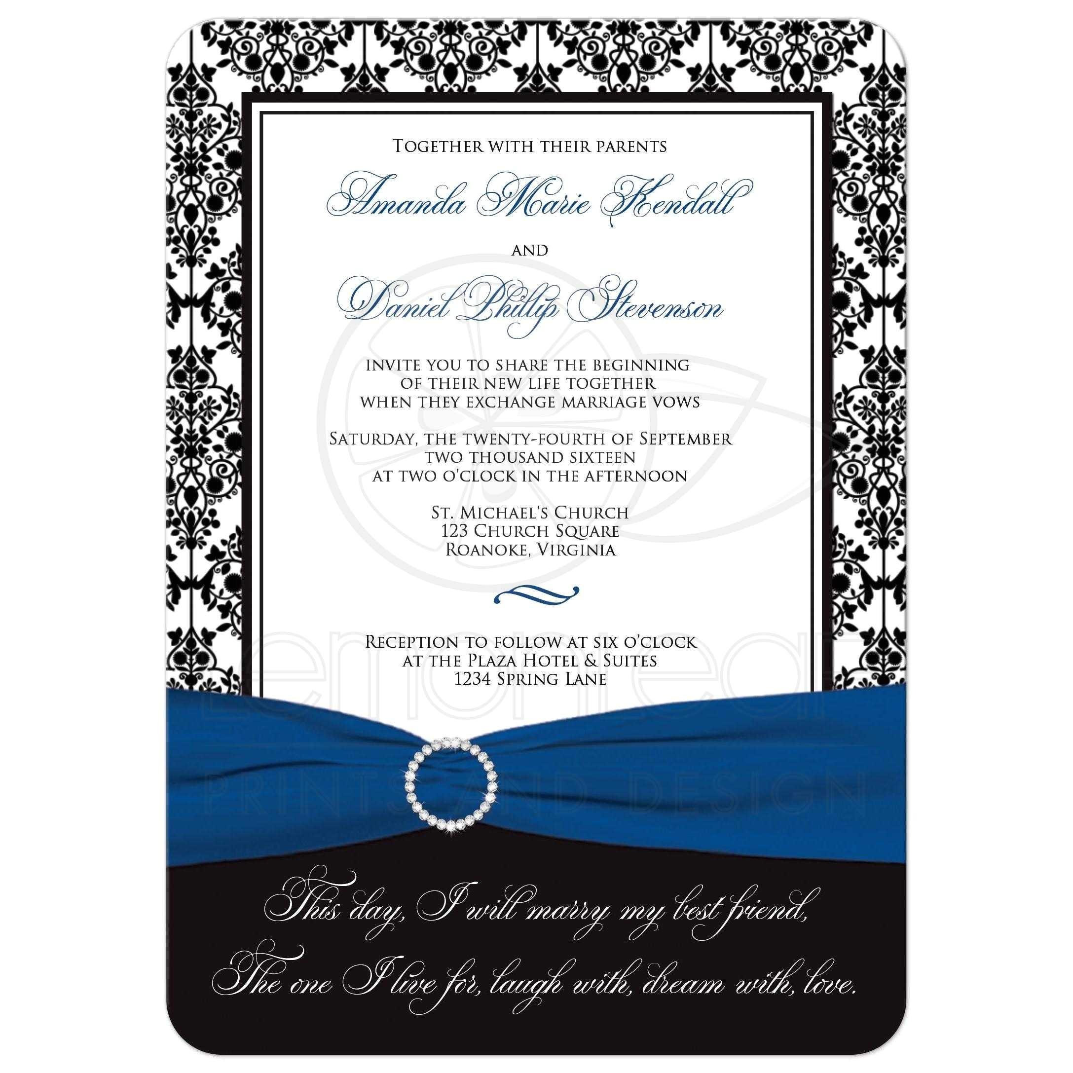 wedding invitation black white damask printed royal blue ribbon printed jewel brooch