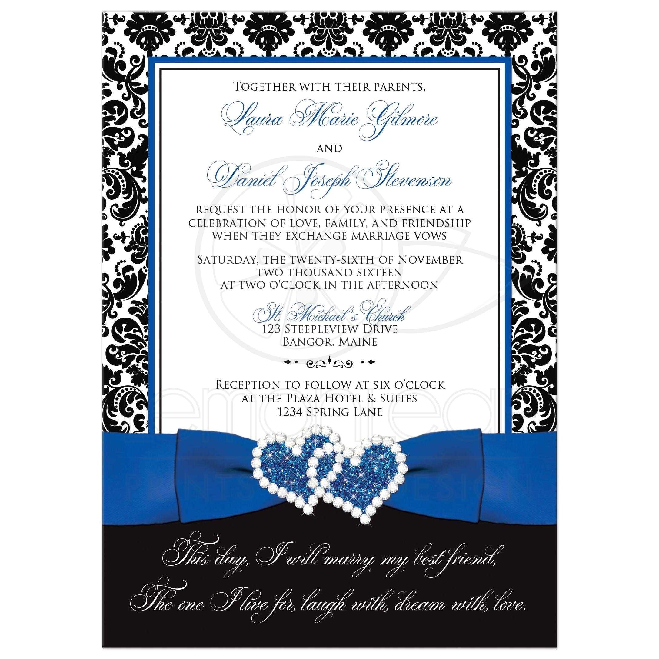 wedding invitation optional photo royal blue white black damask printed ribbon jeweled joined hearts