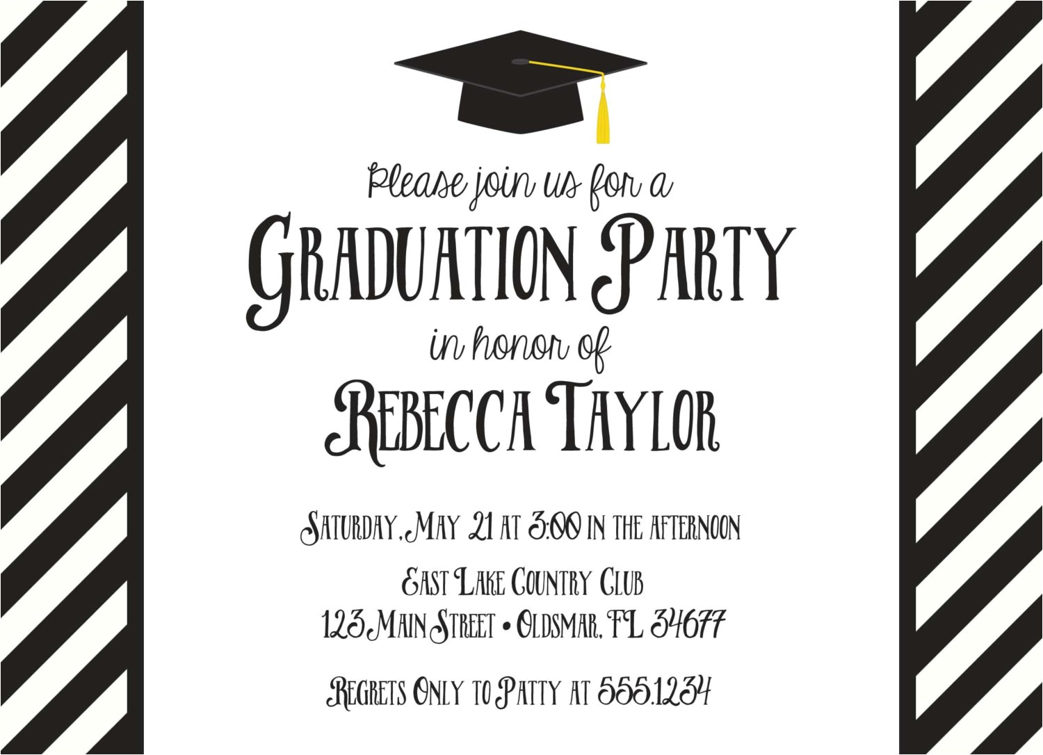 black and white graduation invitation