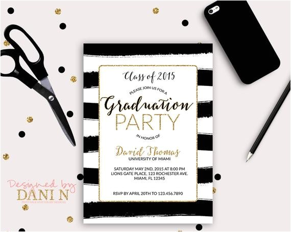 stripes graduation invitation gold black grad