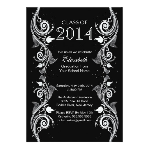 elegant black white graduation party invitation 161136144017986923
