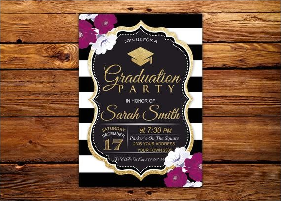 graduation party invitation black white