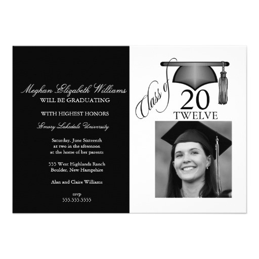 photo graduation invitation black and white 161873575421653990