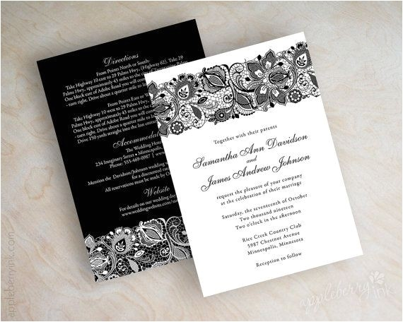 black and white lace wedding invitations 120512865