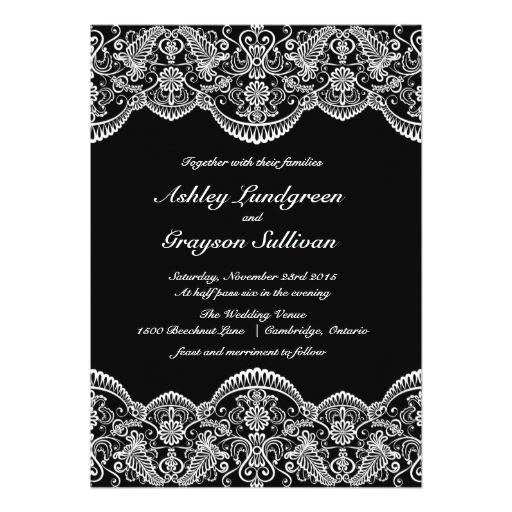 black and white moroccan lace wedding invitation 161549085178423209