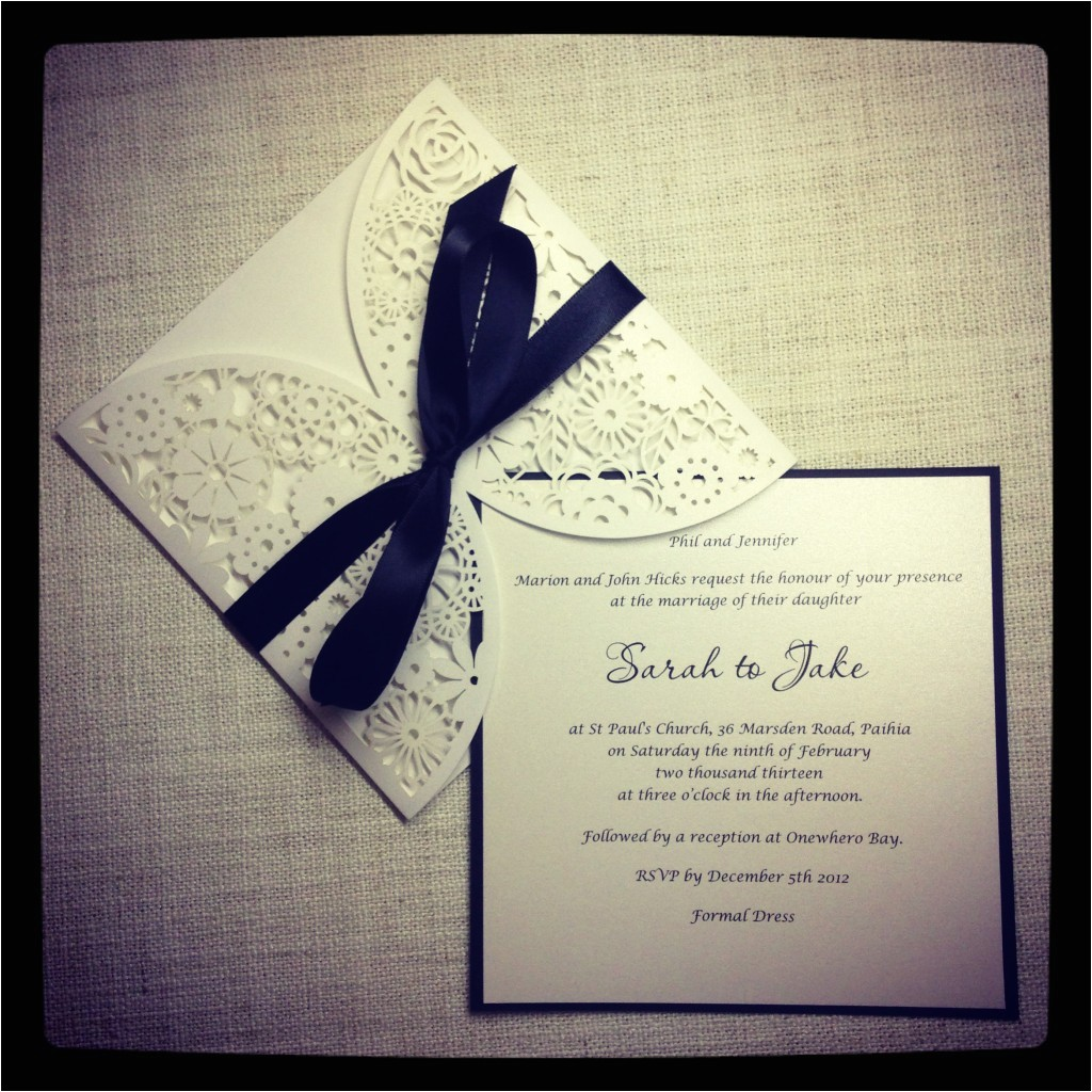 black and white wedding invitations with lace images gray