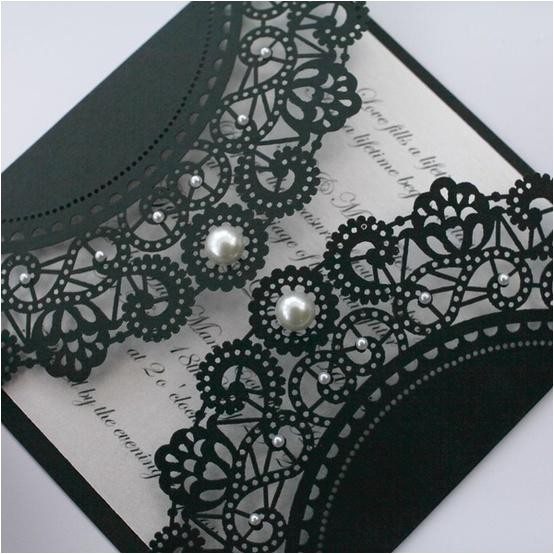 black lace wedding invitation with pearl details