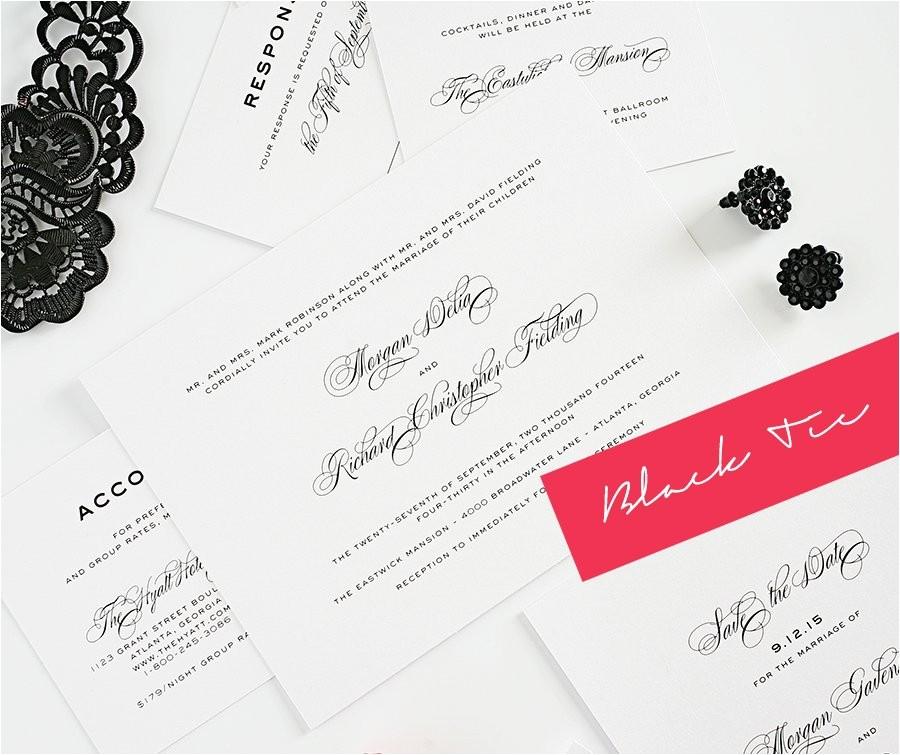 classic modern black tie wedding invitations