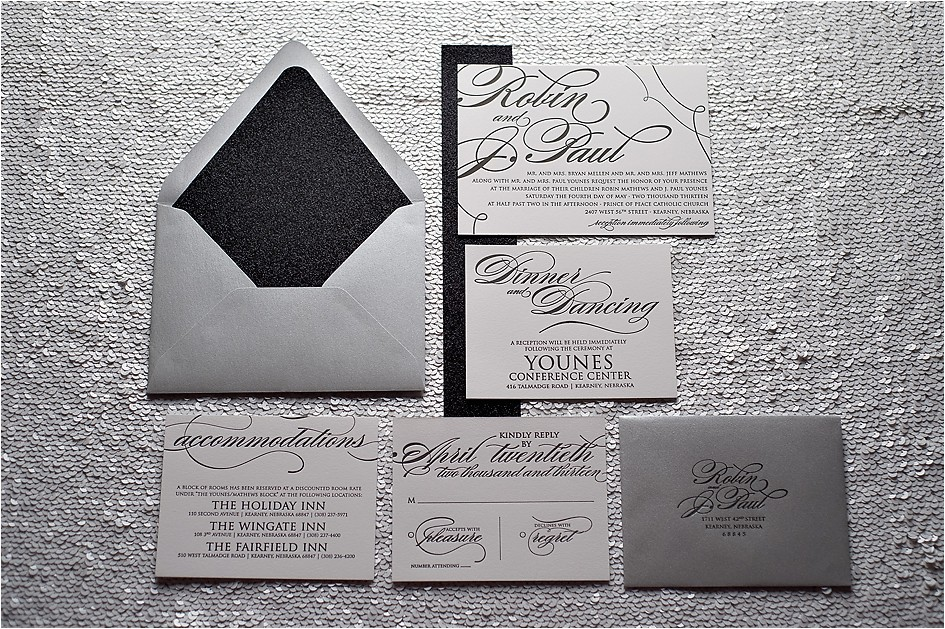 real wedding robin and j paul black and white black tie wedding invitations