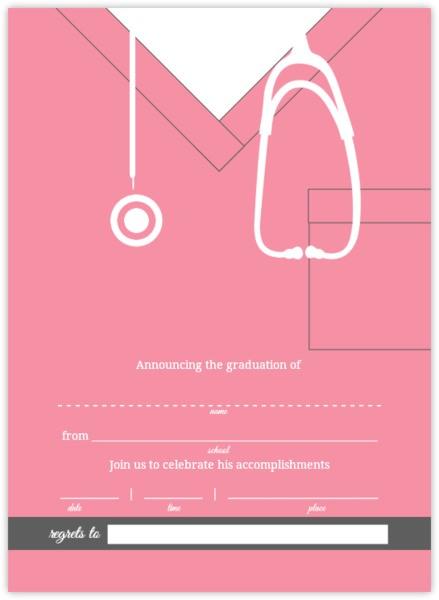 pink scrubs graduation fill in the blank invitation