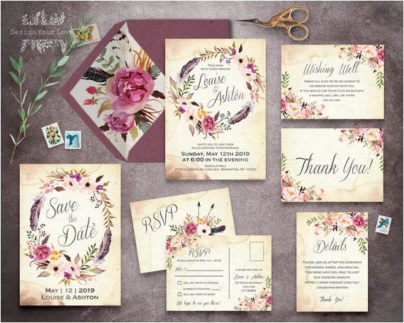 Blank Wedding Invitation Sets Floral Wedding Invitation Set Printable Boho Wedding