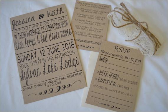 rustic wedding invitations set of 25