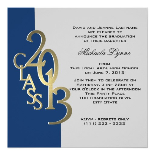 2013 blue and gold photo graduation invitation 161825616170342741