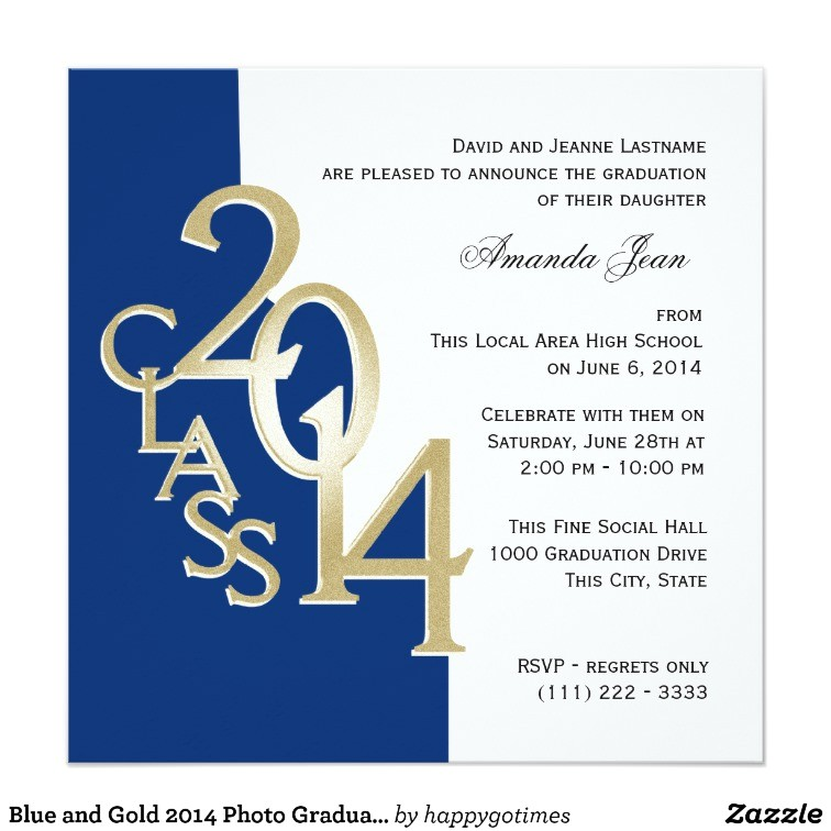 blue and gold 2014 photo graduation invitation 161646324146978399