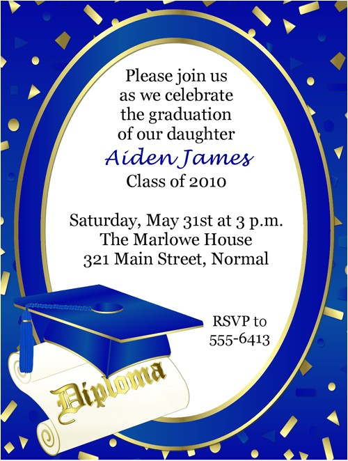 blue and gold graduation invitations